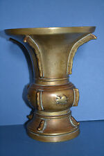 Antique Early 19th Century Chinese Bronze Gu Vase With Good Decoration,c 1820