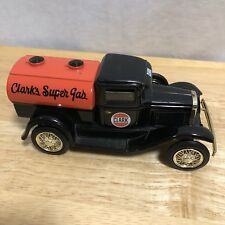 "VINTAGE DIECAST--1929 FORD MODEL ""A"" TANKER TRUCK BANK-CLARK'S SUPER GAS-by ERTL"