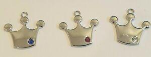 Dog Collar Zip Charms Crystal Pet Charm Crown Prince Princess Design 3 Colours