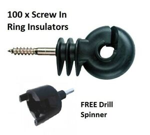RING INSULATORS x 100 - Electric Fencing Fence Screw In For Wooden Posts Wire