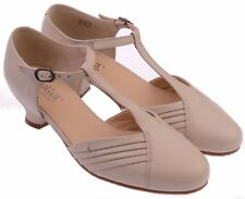 Ladies T-Bar Shoe Hotter Quickstep Soft Beige UK Size 5.5 Standard Fitting