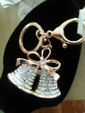 wedfing bells keychain rose gold rhinestones