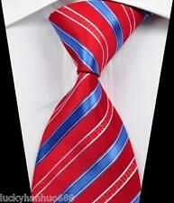 New Classic Stripes Red Blue White JACQUARD WOVEN 100% Silk Men's Tie Necktie