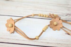 Womens Tan Flower Beaded String Belt Size M #BEL3