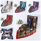 Women's Flower Printing  Hijab Scarves Silk-Satin Square Head Scarf 35
