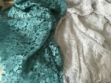 2 Remnant pieces polyester corded lace teal and pale grey 162cm & 152cm