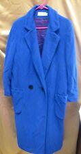 Vintage Ruby Martin Blue Velvety Lined Long Coat Jacket Womens Sz Large EUC