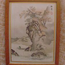 Pintura de la época Meiji?, enmarcada, en perfecto estado/ Meiji Woodblock Print