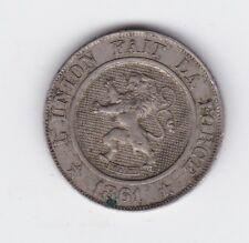 1861 Belgium L'union Fait La Force 10 Centimes Coin B-516