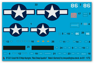 "Peddinghaus-Decals 1/72 2331 Corsair F4U-1D Major Boyington ""Black Sheep Squadro"