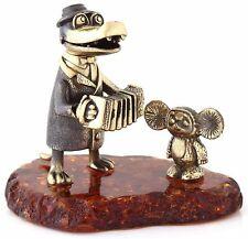 Crocodile Gena Cheburashka Brass Baltic Amber Figurine Cartoon Characters Russia