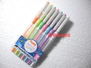 Pentel K118 Luminous Sweet Colors Hybrid Gel Grip 0.8mm Rollerball Pen 7 Colors