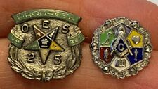 Lot of 2 Vintage Sterling & Enamel MASONIC Pins, One Screw-back with Marcasites