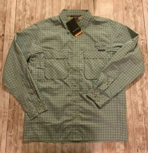 NEW ExOfficio Air Strip Shirt Check Plaid Medium Vented Fishing NWT! MSRP $90.00