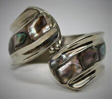 Mexican Silver Alpaca Hinged Bangle with Abalone - Thames Hospice