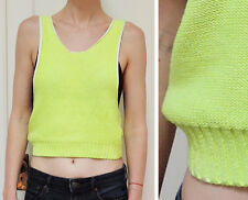 H&M DIVIDED Tank Top Vest Crop Knit Sweater Neon Bright Lime Green 4 UK 8 S XS