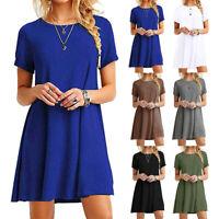 New Women's Summer Loose T-shirt Sundress Short Sleeve Dress Beach Casual Solid