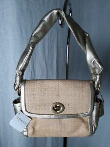 NWT Coach Parker Straw Top Handle Handbag GOLD leather trim  #42475