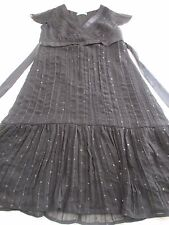 M&S PETITE PRETTY JET BLACK KNEE LENGTH CHIFFON DRESS UK 8 TINY SPARKLY SEQUINS