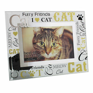 Glass 6 x 4 Photo Frame with Mirror glass & Glitter Letters - Cat