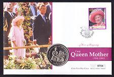 2002 Cubierta de memorial de la reina madre Santa Lucía sello de la isla de man IOM moneda royalty