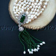 "K093006 20"" 5Strands White Baroque Pearl Green Jade Necklace CZ Pendant"
