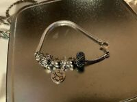 """Sterling Silver Charm Bracelet With 6 CHARMS - 7"""" -  8"""""""