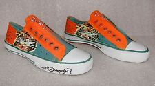 ED HARDY Orange Teal Tiger Roar Lace-Less Slip On Fashion Shoes Women's Size 5
