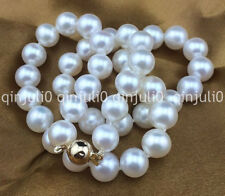 """9-10mm round south sea white pearl necklace 18"""" 14K GOLD JN1161"""