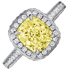 5.50 Carat Cushion Cut Fancy Yellow GIA Diamond Engagement Ring in Platinum