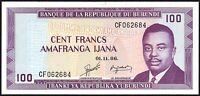 1986 Burundi 100 Francs Banknote * UNC * P-29b *