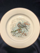"""VILLEROY & BOCH FONTAINEBLEAU SALAD PLATE 8 1/4"""" GROUSE ON BRANCH BROWN TRIM 6"""