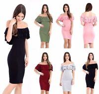 Womens Ladies Off Shoulder Long Sleeve Frill Ruffle Bardot Midi Bodycon Dress