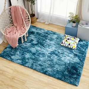 Tie Dyeing Plush Soft Fluffy Carpet Anti-Slip Faux Wool Area Rugs Home Decor UR