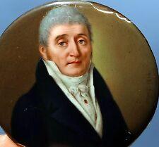 Man Portrait Antique Miniature Paint Enamel on Copper 1814 SIGNED 200 years old!