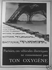 PUBLICITÉ 1941 BATTERIE TUDOR PARISIEN CES VEHICULES ELECTRIQUES