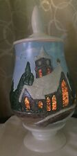 Vintage Christmas Ceramic Scene Illuminated Hand Painted Candle Holder Tree