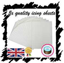 More details for x5 edible icing sheets for printing, decor quality plain blank, a4 icing paper!
