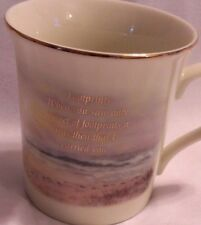 Lenox Footprints 8oz Coffee Cup Mug Nicky Boehme Porcelain Gold Trim Lighthouse