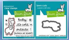 Lawn Fawn Photopolymer Clear Stamps-10ct. + Dies WINTER ALPACA ~ LF981, LF982