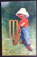 HOPE OF HIS SIDE Cricket POSTCARD Comic CHILD Wicket 685 LANGSDORFF 1907 190