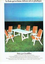 PUBLICITE ADVERTISING 0217  1978  salon de jardin Patio par Grosfillex
