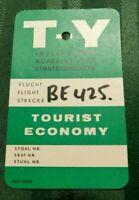 VINTAGE BOARDING PASS T-Y Instapkaart Einsteigekarte Vlucht Flight Strecke