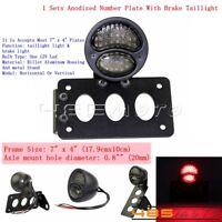 Side Mount LED Brake Taillight License Number Plate Lamp W/ Bracket For Harley