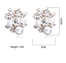 Square Faux Pearl & crystal Stud Earrings Cluster  - Gold Tone  Kate Crew style