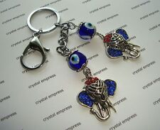 Feng Shui - Pair of Blue Evil Eye with Lucky Elephant Keychain (Jealousy)