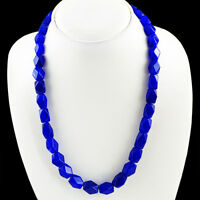 GENUINE 350.50 CTS EARTH MINED RICH BLUE SAPPHIRE FACETED BEADS NECKLACE STRAND