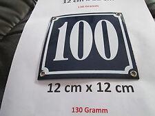 Hausnummer  Emaille Nr. 100  weisse Zahl auf blauem Hintergrund 12 cm x 12 cm