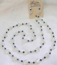 "Blu/Blk Glass Beaded Necklace Earring Set 32"" Hand Knotted Opalite Heart Steel"