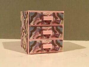 Pink Floral 3 Plastic Drawer Jewelry Storage Box